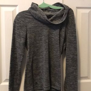 Grey fleece turtle neck pullover